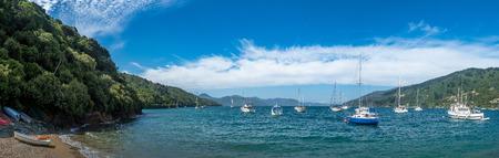 Boats and beach at Waikawa marina, Picton, New Zealand