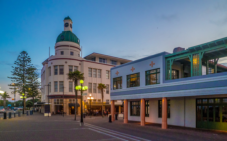 The beautiful art deco town of Napier, New Zealand - as summer night approaches.