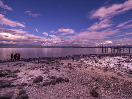 Lonely beach on Lake Te Anau, New Zealand