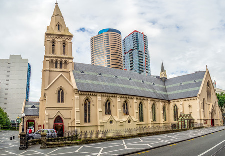 Stately, full-service Catholic church featuring an ornate design with lots of stained glass, Auckland Central Business District, New Zealand