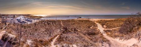 Panoramic view of Lake Michigan and New Buffalo Beach in Michigan, USA