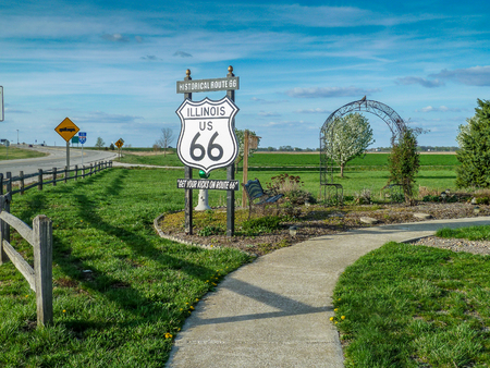 Historical Route 66 sign in Illinois Stock fotó