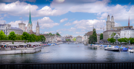 The city of Zurich on midsummers day