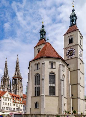 Cathedral spires of Regensburg, Germany Stock fotó