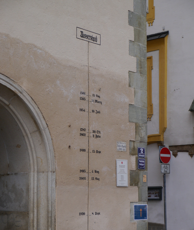 The various flood level markers in the coty of PAsau, Germany