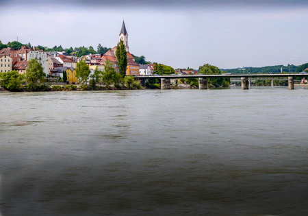 High water levels on the River Inn at PAssau, Germany
