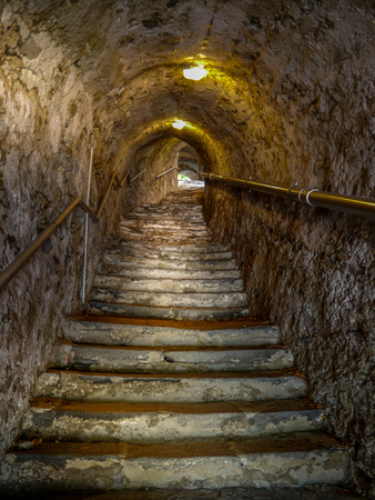 Medieval tunnel rising up from the River Danube