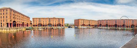 Liverpool River Mersey waterfront and Albert Dock, UK