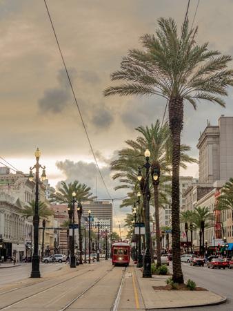 Historic tram riding along Canal Street, New Orleans, Louisiana