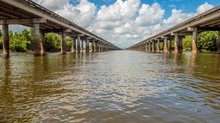 Atchafalaya Basin Bridge from water level - carries Interstate 10 across the Atchafalaya Basion, Mississippi Stock fotó