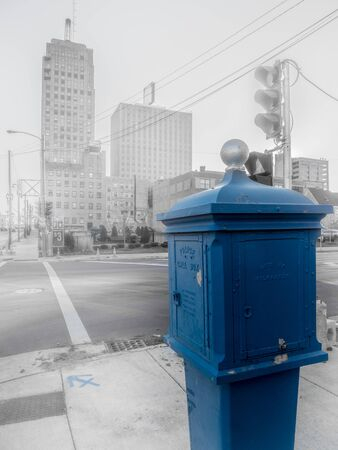 A traditional old police call box in downtown Milwaulkee, Wisconsin