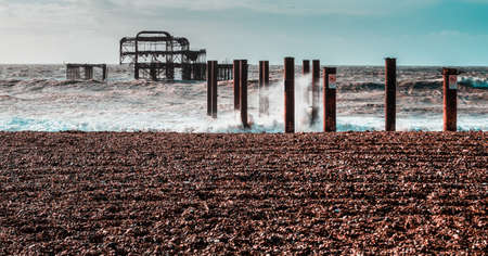 The West Pier is a pier in Brighton, England. It was designed by Eugenius Birch and opened in 1866. It was the first pier to be Grade I listed in Britain but became increasingly derelict since its closure in 1975. 2 fires in 2003 finished it off...