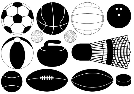 Set of game balls illustration on white background