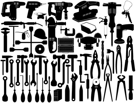 Set of different tools isolated on white Vector