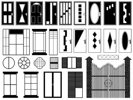 piso negro: Conjunto de diferentes puertas y ventanas ilustradas sobre fondo blanco Vectores