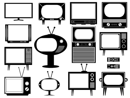 Set of tv illustration on white background