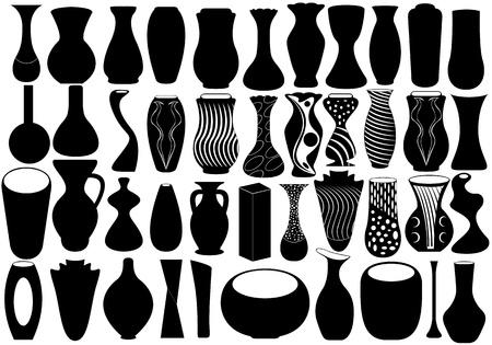 florero: Ilustraci�n de jarrones negros para flor sobre fondo blanco