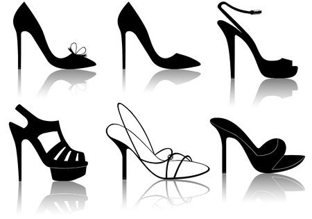 힐: 흰색에 고립 된 다른 검은 우아한 신발의 그림 일러스트