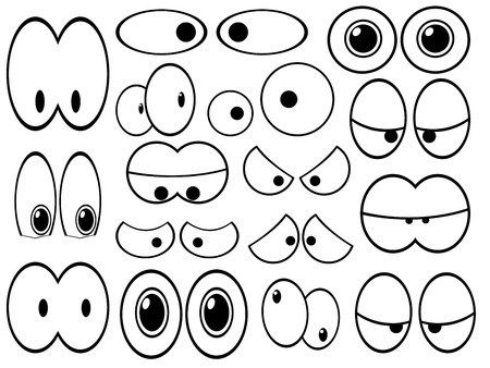 Set of cartoon eyes representing emotions on white background