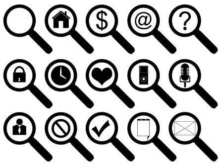 Set of magnifier business and multimedia icons on white background Illustration