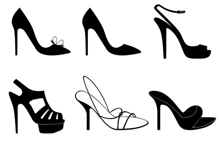 legs heels: Illustration of diferent black elegant shoes isolated on white