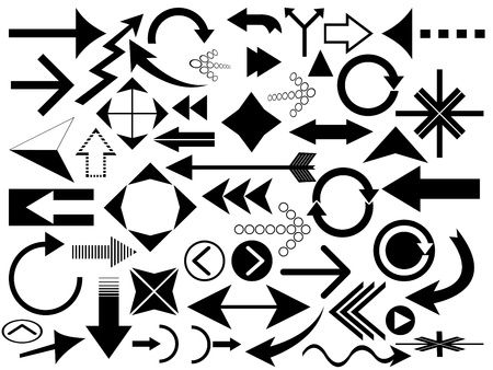 direction of the arrow: Set of various arrows on white background Illustration