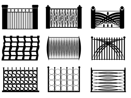 Set of modern fence illustrated on white background Vector