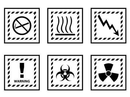 Set of warning signs illustrated on white background Vector