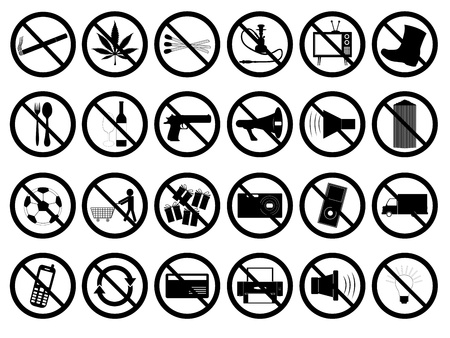 Set of forbidden signs illustrated on white background Stock Vector - 17248854