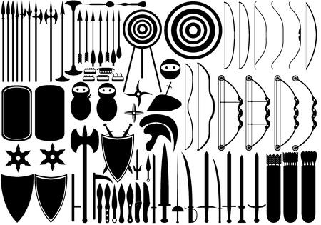 katana: Illustratie van middeleeuwse wapens op wit wordt geïsoleerd