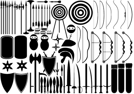 Illustration of medieval weapons isolated on white Vector
