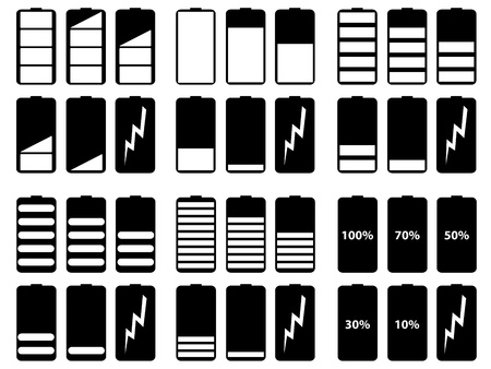 Set of battery levels illustrated on white background Stock Vector - 17954985