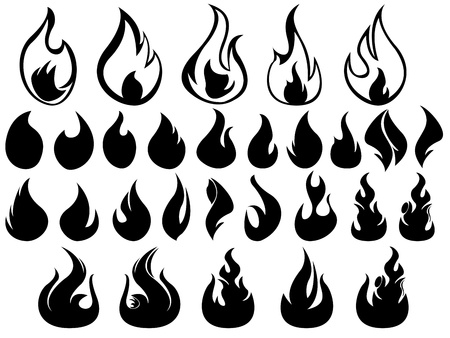 Set of flames illustrated on white background Stock Vector - 18176328