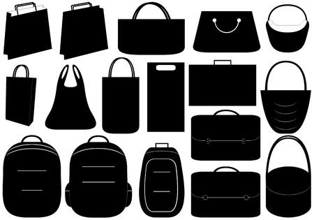 packing suitcase: Illustrazione di diversi sacchetti isolato su sfondo bianco Vettoriali
