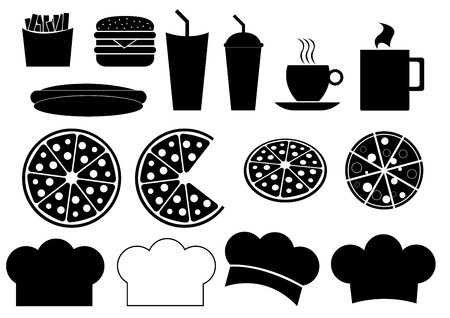 Set of Fast food and drinks on white background Vector