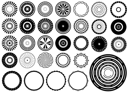Set of circles design elements illustrated on white