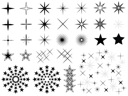 Set of stars illustrated on white background Illustration