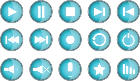 Set of blue buttons illustrated on white background Illustration