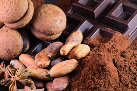 Praline chocolate and cocoa beans photo