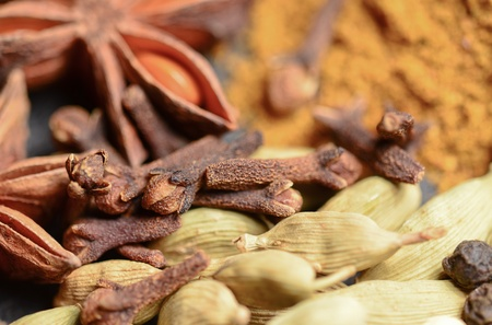Anise, cloves, cardamom and paprika Stock Photo - 13889475