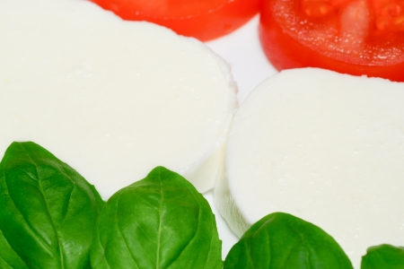 Tomato, mozzarella and basil photo