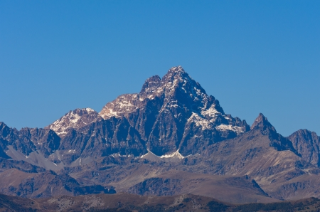 pyramid peak: Mount Monviso - 3841 m s l m  Stock Photo
