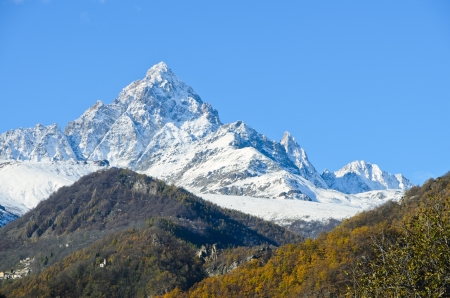 pyramid peak: Mount monviso Stock Photo