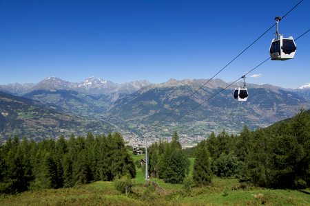 aosta: Panorama of Aosta Valley - Italy Stock Photo
