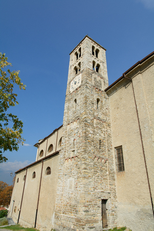 solidity: Romanesque bell tower of San Giorio - XI century - Piedmont Stock Photo