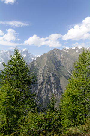 aosta: Mont Blanc chain and the valley of Courmayeur - Aosta Valley Stock Photo