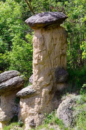 erratic: Boulders on earth pyramids in Villar San Costanzo - Piedmont