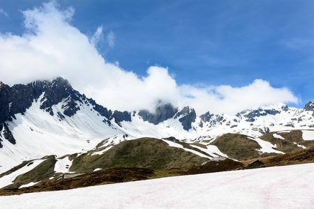 st bernard: Mountains near the pass of the Little St  Bernard Stock Photo
