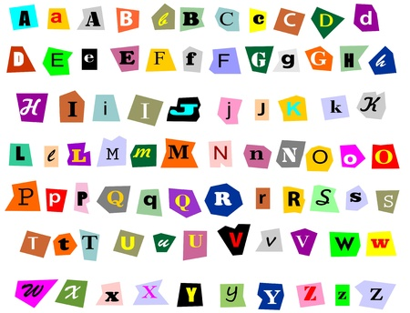 Alphabet newspaper uppercase, lowercase and symbols cutouts isolated on white  Mix and match to make your own words