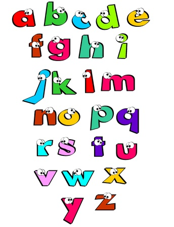 Funny alphabet letters with eyes  Alphabet for children learning their first letters  Poster for the school